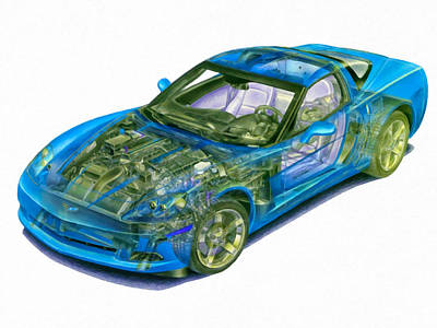 X-ray Image Painting - Transparent Car Concept Made In 3d Graphics 11 by Lanjee Chee