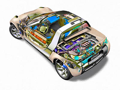 X-ray Image Painting - Transparent Car Concept Made In 3d Graphics 2 by Lanjee Chee