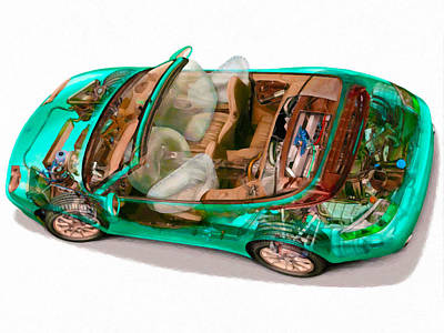 X-ray Image Painting - Transparent Car Concept Made In 3d Graphics 3 by Lanjee Chee
