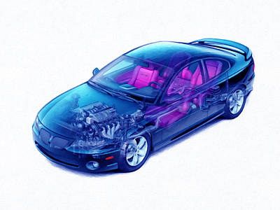 Transparent Car Concept Made In 3d Graphics 4 Art Print