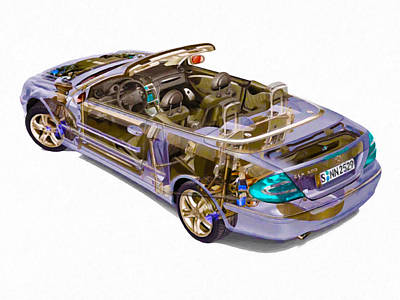 X-ray Image Painting - Transparent Car Concept Made In 3d Graphics 6 by Lanjee Chee