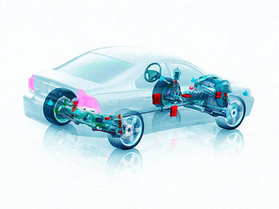 X-ray Image Painting - Transparent Car Concept Made In 3d Graphics 7 by Lanjee Chee