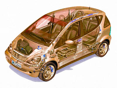 X-ray Image Painting - Transparent Car Concept Made In 3d Graphics 9 by Lanjee Chee