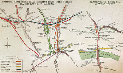 The Tube Wall Art - Drawing - Transport Map Of London by English School