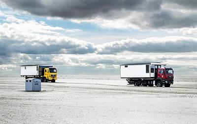 Photograph - Transport Of Beach Huts by Yvon van der Wijk
