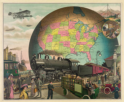 Transportation From 1910 Art Print by E.S. Yates