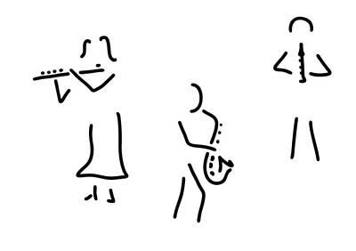 Musicians Drawings - Transverse Flute Saxophone Flautist Wooden by Lineamentum