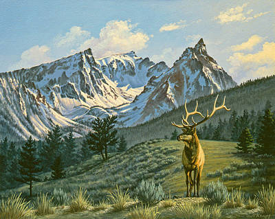 Elk Painting - Trapper Peak - Bull Elk by Paul Krapf