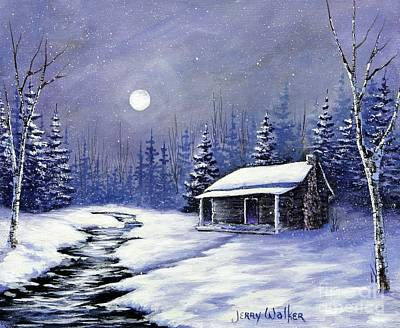 Snowscape Painting - Trapper's Cabin by Jerry Walker