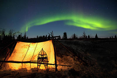 Trapped Photograph - Trappers Tent Lit Up With Aurora by Richard Wear / Design Pics