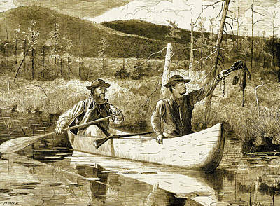 Canoe Digital Art - Trapping In The Adirondacks by Winslow Homer