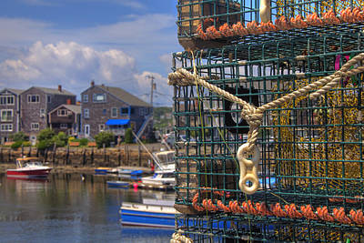 Row Boat Photograph - Traps In Rockport Harbor by Joann Vitali