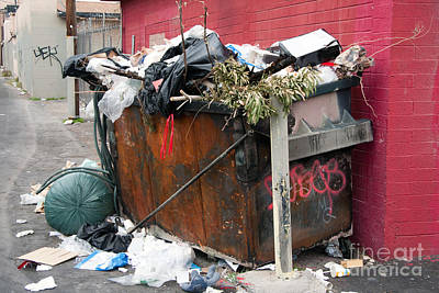 Art Print featuring the photograph Trash Dumpster In Slums by Gunter Nezhoda