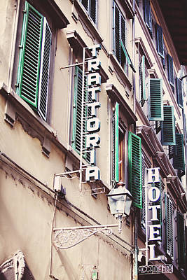 Trattoria Photograph - Trattoria Hotel Shop Sign by Kim Fearheiley