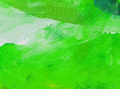 Emerald Green Abstract Painting - Travail Emerald Green by L J Smith
