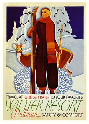 Ski Digital Art - Travel At Reduced Rates - Pullman by Georgia Fowler