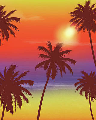 Digital Art - Travel Backgrounds With Palm Trees by Switchpipipi