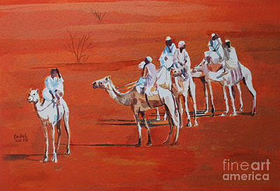 Painting - Travel By Camels by Mohamed Fadul