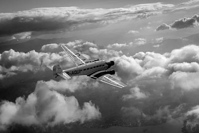Tri-motor Photograph - Travel In An Age Of Elegance Black And White Version by Gary Eason