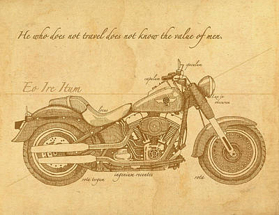 Motorcycle Drawing - Travel Plan by Meg Shearer