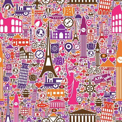 Travel Seamless Pattern Art Print by Liana Monica Bordei