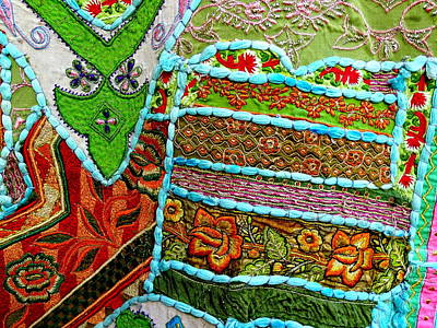 Tapestries Textiles Photograph - Travel Shopping Colorful Tapestry 5 India Rajasthan by Sue Jacobi