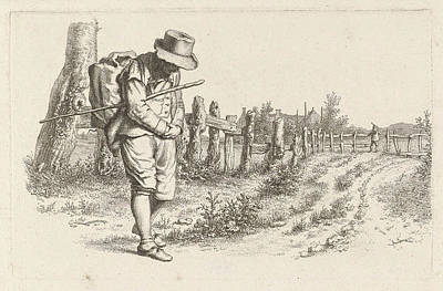 Old Country Roads Drawing - Traveler On A Country Road, Jacob Ernst Marcus by Artokoloro