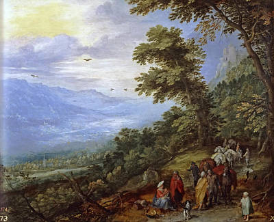 Gypsy Band Painting - Travelers Meeting Band Of Gypsies On Mountain Pass by Jan Brueghel the Elder