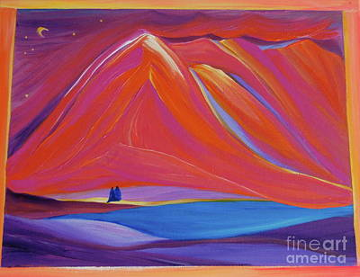 Art Print featuring the painting Travelers Pink Mountains by First Star Art