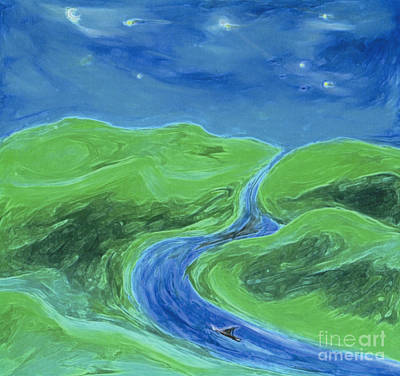Art Print featuring the painting Travelers Upstream By Jrr by First Star Art