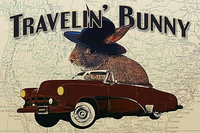 Funny Car Digital Art - Travelin' Bunny by Flo Karp