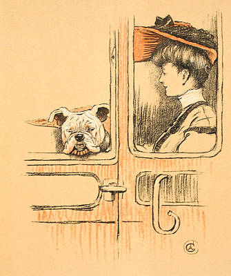 Traveling In First Class Art Print by Cecil Charles Windsor Aldin