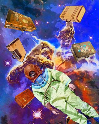 Astronauts Mixed Media - Traveling Light by Dominic Piperata