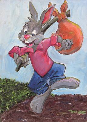 Traveling Rabbit Print by Terry Lewey