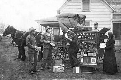 Healthcare And Medicine Photograph - Traveling Salesman by Underwood Archives