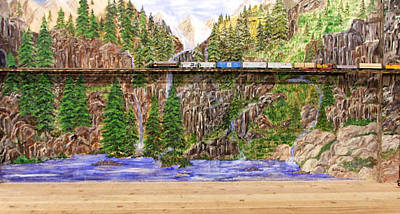 Art Print featuring the painting Traveling The Rails Wall Mural by Alethea McKee