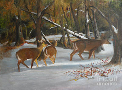 Snow Covered Ground Painting - Traveling Through by Margo Wolfe