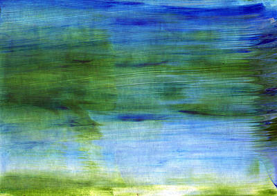 Blue And Green Painting - Traveling West by Linda Woods