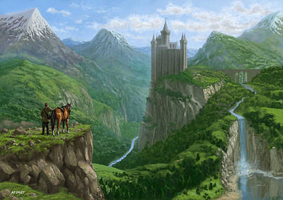Traveller In Landscape With Distant Castle Art Print