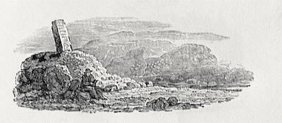 Traveller Reading Beneath A Milestone Wood Engraving Print by Thomas Bewick