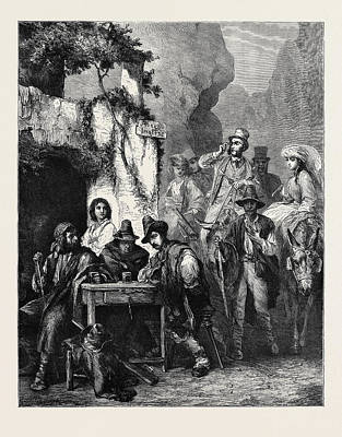 Raiders Drawing - Travellers And Brigands by English School