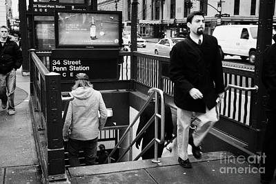 Travellers Exiting And Entering 34th Street Entrance To Penn Station Subway New York City Print by Joe Fox