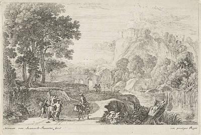 Stone Buildings Drawing - Travellers On A Donkey, Print Maker Herman Van Swanevelt by Herman Van Swanevelt