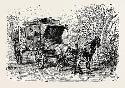 Seventeenth Century Drawing - Travelling Coach Seventeenth Century by English School