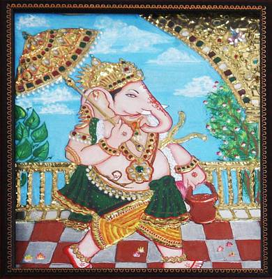 Travelling Ganesh Art Print by Jayashree