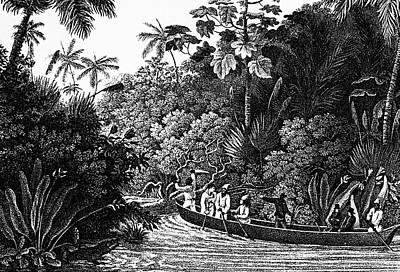 Canoe Drawing - Travels In Brazil, 1820 by Granger
