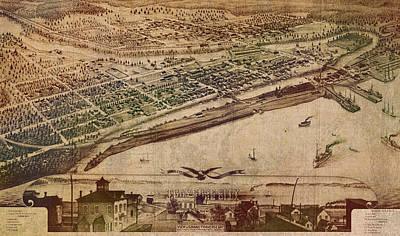 Traverse City Michigan Vintage 1879 Map Aerial View Of Grand Traverse Bay On Worn Parchment Art Print by Design Turnpike
