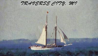 Boating Mixed Media - Traverse City Postcard by Dan Sproul