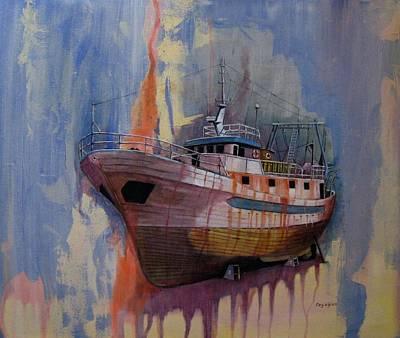 Painting - Trawler by Ray Agius