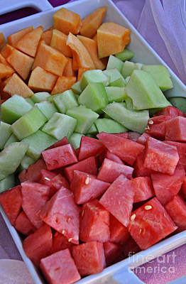 Photograph - Tray Of Melon Chunks Art Prints by Valerie Garner